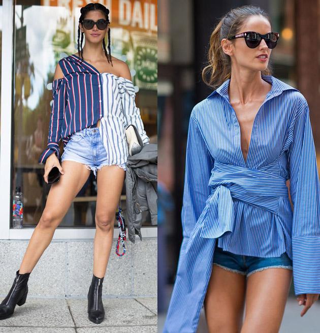 Девушки в джинсовых мини шортах и полосатых рубашках ассиметричного кроя