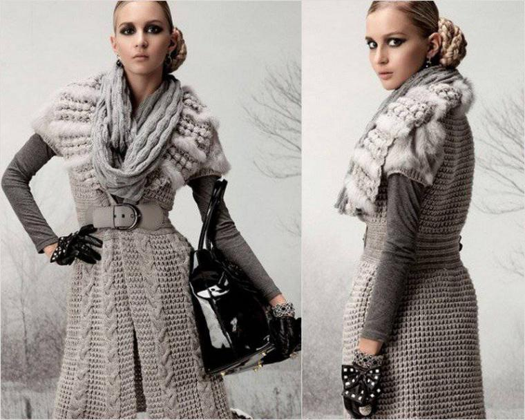 Удивительные сочетания вязания и меха
