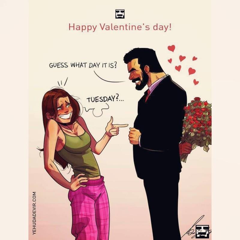 Израильский художник иллюстрирует повседневную жизнь со своей женой