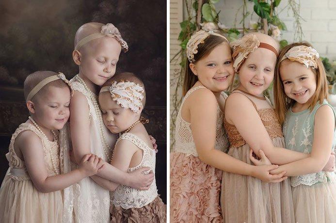 2. Райли (3 года), Реанн (6 лет) и Энсли (4 года) - и они же спустя три года. Здоровы! вдохновляющее, выжившие, до и после, заболевание, рак, сильные духом