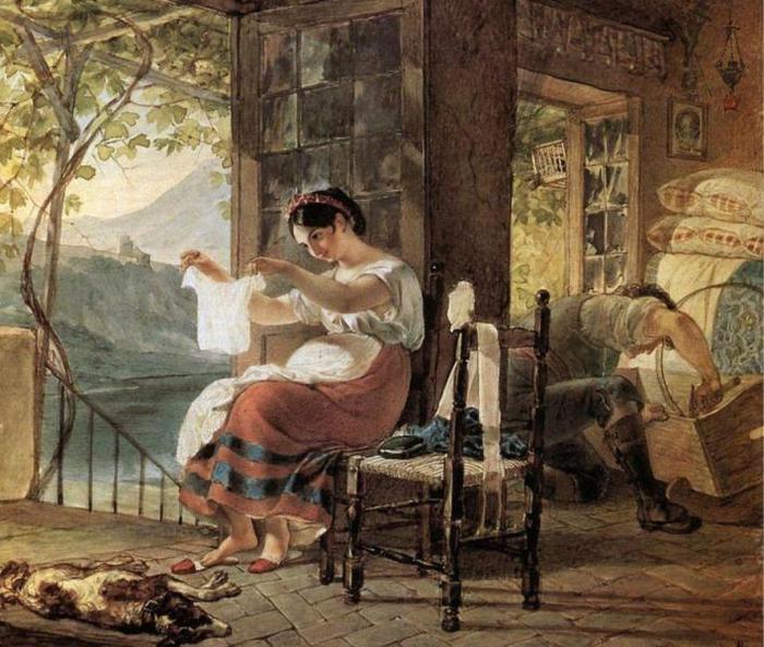 Итальянка, ожидающая ребенка, разглядывает рубашку, муж сколачивает колыбель, 1831 (700x593, 79Kb)