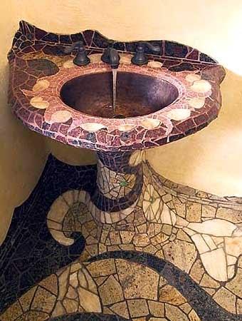 необычная плитка для ванной мозаика