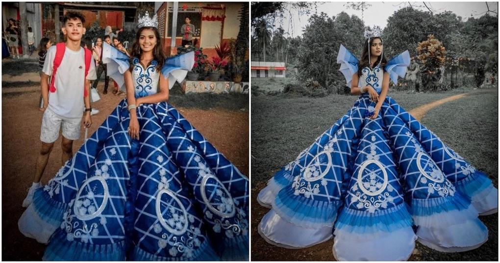 Платье для Золушки: старший брат научился шить, чтобы подарить сестре платье на выпускной