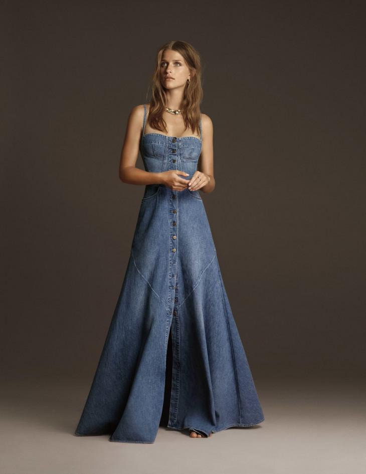 Длинный джинсовый сарафан в стиле бохо