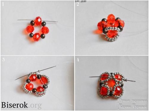 Плетеная бусина в форме цветка схема, красивые серьги из бисера и бусин мастер-класс