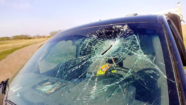 Водитель чудом спасся от прилетевшего в стекло топора