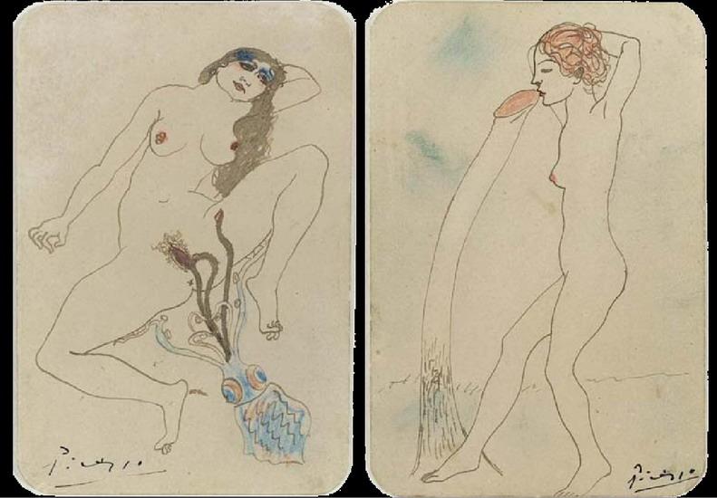 Пабло Пикассо. Два эротических рисунка. 1903 год