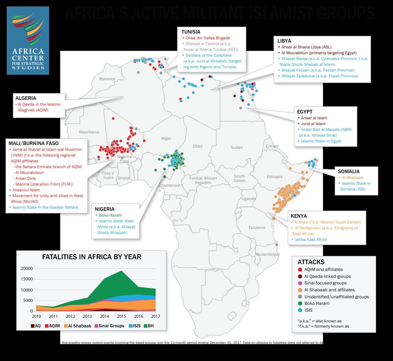 Активность джихадистов в Африке за 2017-й год
