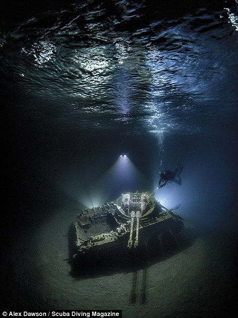Alex Dawson's shot of a tank in Tala Bay, Jordan, won him the top prize in the wide-angle category. The machine, an M42 Duster, was sunk by the Jordanian Royal Ecological Society to make a snorkel and dive attraction