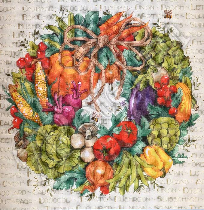 """Схема вышивки """"Овощной венок"""""""