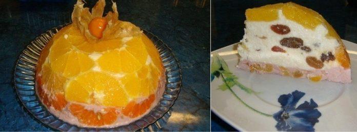 Творожной тортс фруктами. Легкий и вкусный десерт!