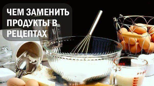 Чем заменить некоторые продукты в рецептах