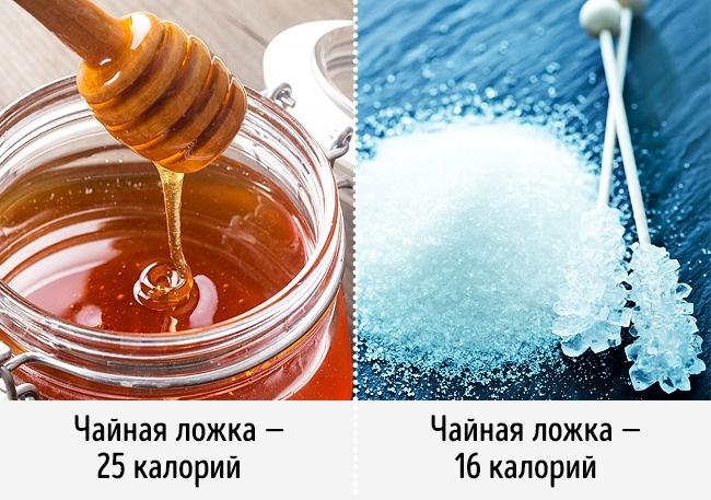 Вместо сахара кладем мед