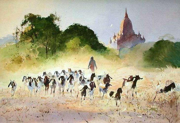 Акварельные картины художник Мьё Вин Онг 22