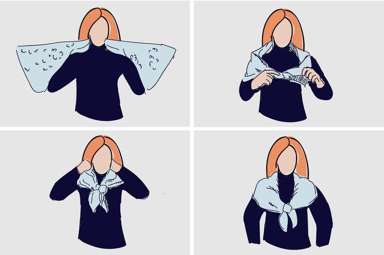 12 вариантов элегантно завязать платок на шее.