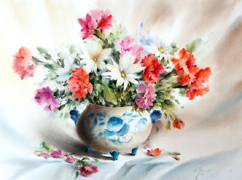 Несу букет любимой! Акварели Mohammada Yazdchai