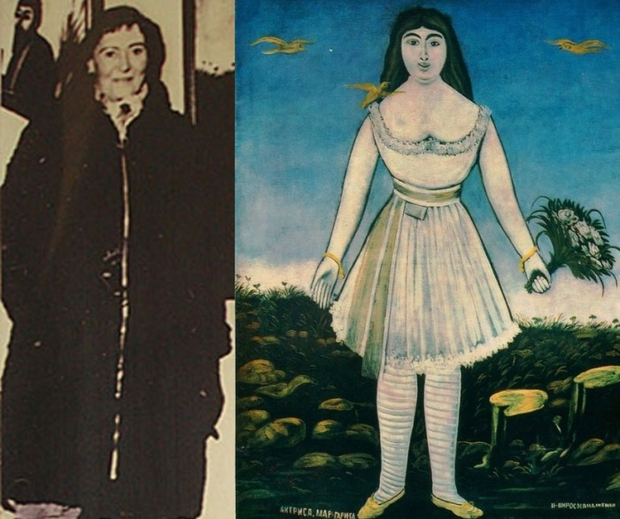 Маргарита де Севр в реальной жизни и на картине Пиросмани *Актриса Маргарита*