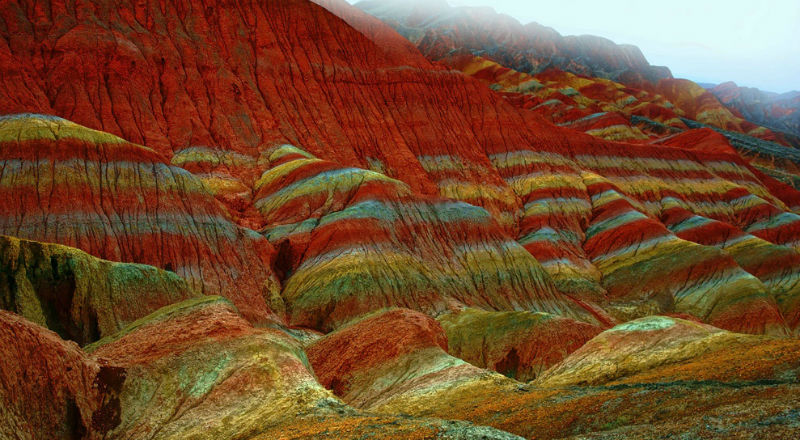 Ландшафт Дэнксия — цветные горы Китая