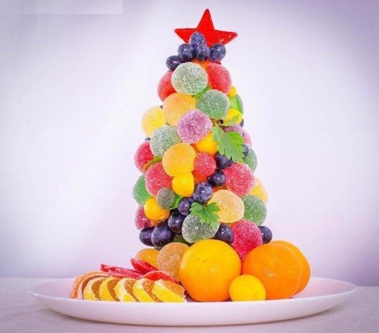 Сладкая елочка из мармелада для новогоднего стола