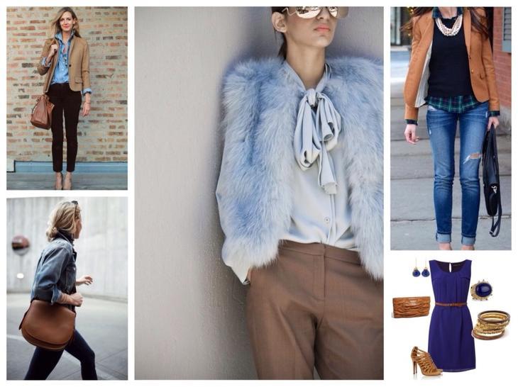 синий и коричневый в одежде