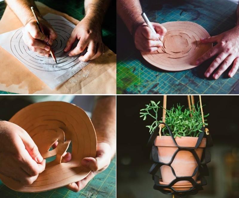 Кашпо из резины или кожи дача, дачный участок, идеи для дачи, своими руками, сделай сам