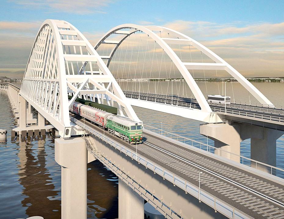 Упал пролет Крымского моста