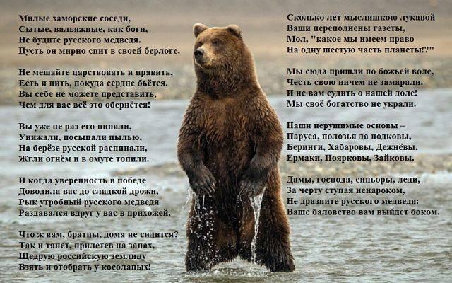 Не будите медведя стих