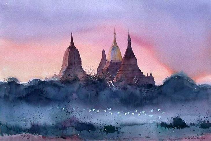 Акварельные картины художник Мьё Вин Онг 9