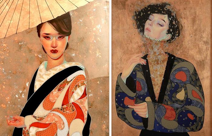 Японские женские портреты от художницы-самоучки, которая пишет золотом и серебром в стиле Климта