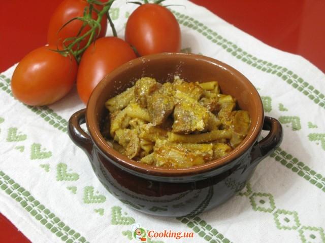 Телятина с макаронами, запеченные в духовке