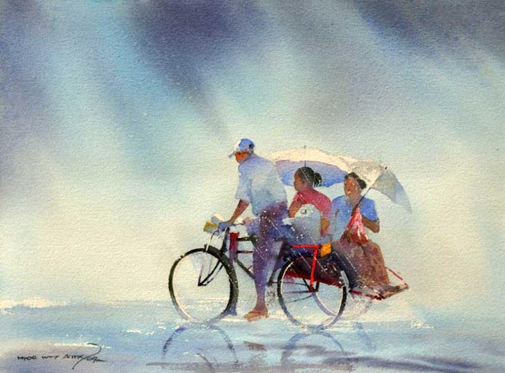 Акварельные картины художник Мьё Вин Онг 17