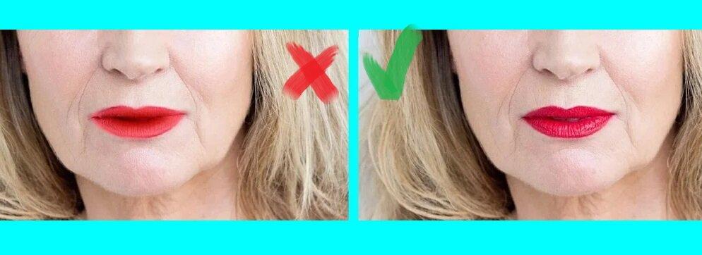 Губы на первом фото выглядят так, как будто помада растеклась, а на втором фото губы выглядят аккуратно