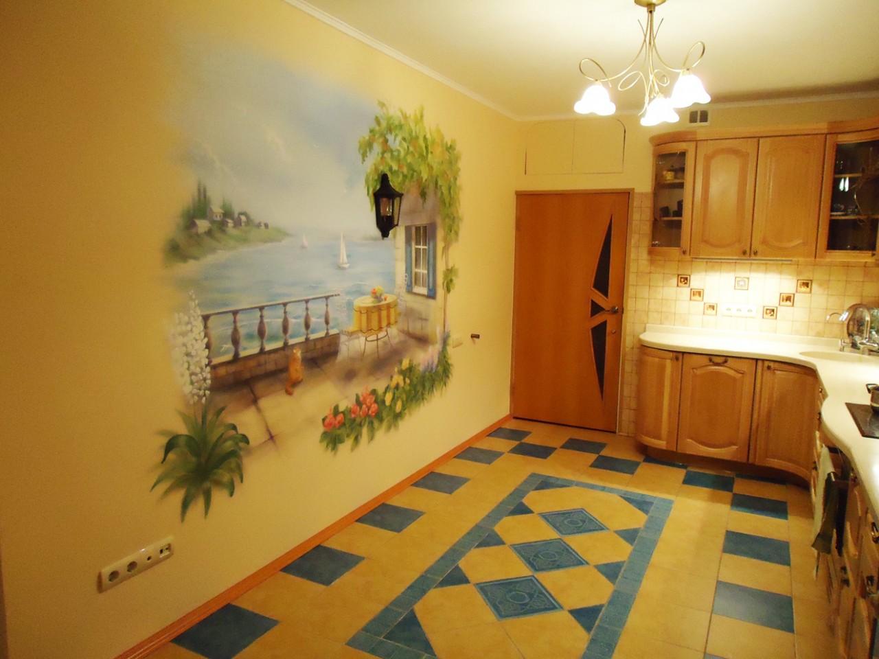 Роспись стен в кухне