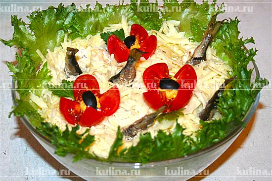 Салат рыбки в пруду со шпротами рецепт с фото