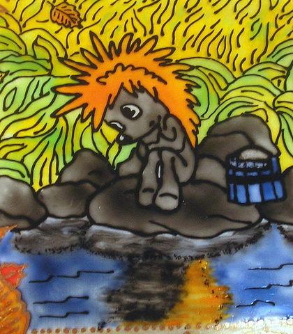 """Тарелки ручной работы. Ярмарка Мастеров - ручная работа Тарелка """"Осенние корабли"""", или любите ли Вы мультфильмы?. Handmade."""