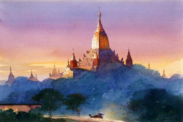 Акварельные картины художник Мьё Вин Онг 24