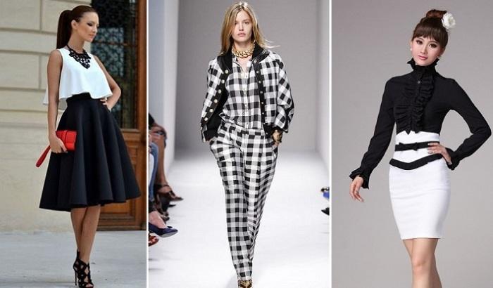 Небольшое дополнение в виде контрастной вставки и наряд в черно-белой гамме выглядит стильно и привлекательно. /Фото: perchik74.ru