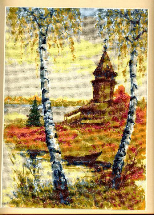 Пейзажи природа(вышивка)церковь