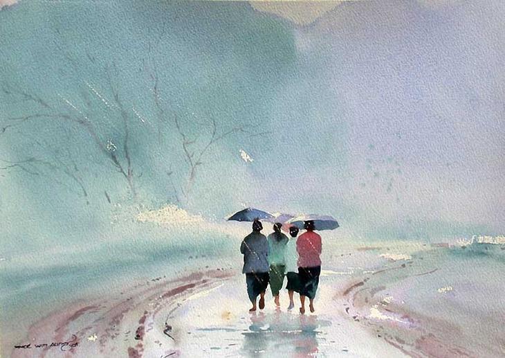 Акварельные картины художник Мьё Вин Онг 23