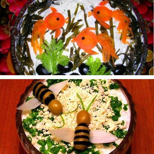 Украшение салатов: оригинальные идеи для праздничного 12