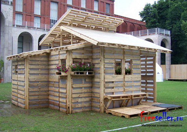 Дачный домик из поддонов