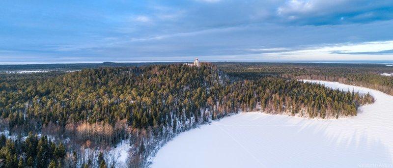 Панорама Секирной горы, снятая над Долгим озером. красота, природа, с высоты птичьего полета, соловки