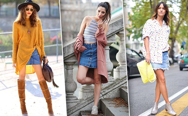 С чем носить джинсовую мини-юбку: 20 стильных образов для лета