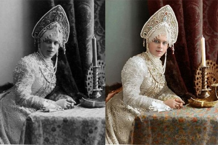 Зинаида Николаевна Юсупова в костюме боярыни 17 века на балу в Зимнем Дворце