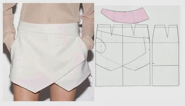 Выкройка юбки шорты с запахом