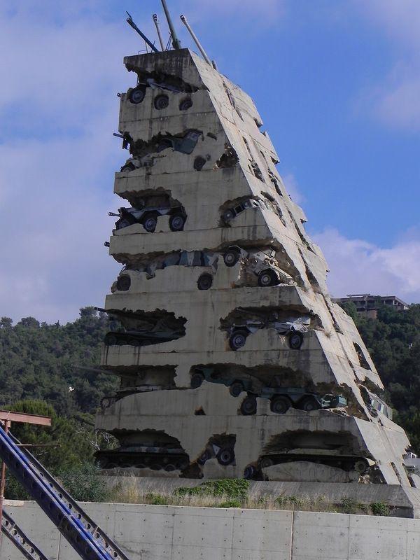 1. Памятник с техникой, участвовавшей в гражданской войне в Ливане война, история, ленинград, первая мировая, поля сражений, после войны, фото, шрамы войны