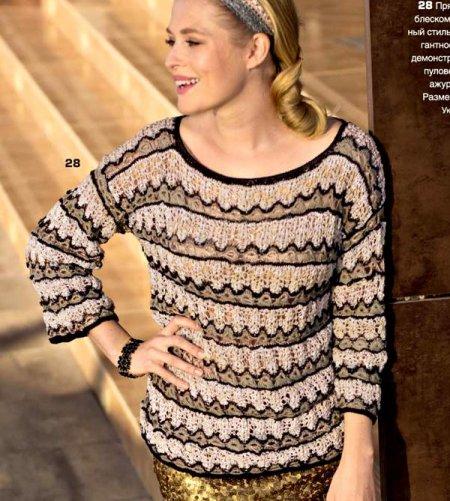 ВЯЖЕМ. Пуловер с фантазийным узором