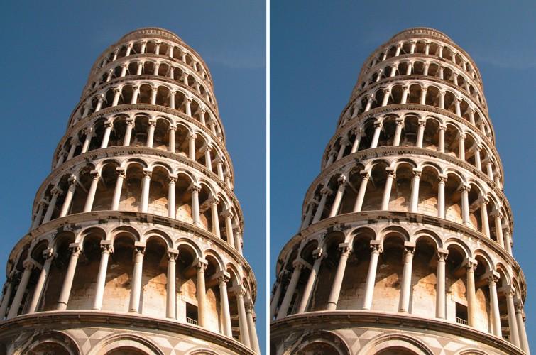 Чем отличаются эти две фотографии Пизанской башни?