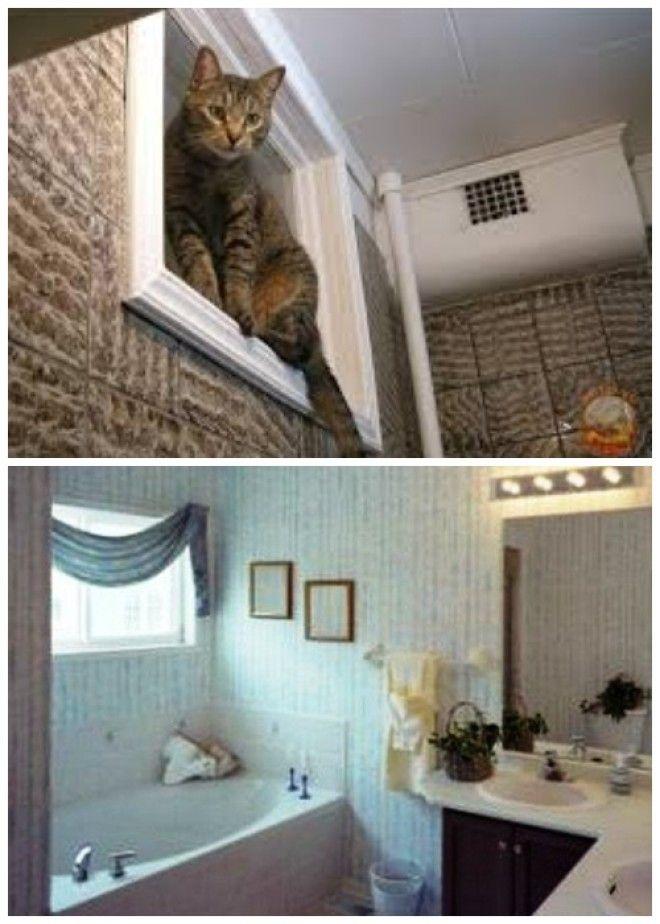 Задекорировать окно в ванной можно любым способом