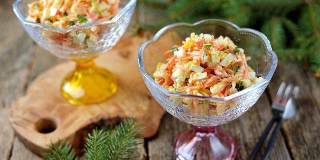 Рецепт салата с корейской морковью и крабовыми палочками